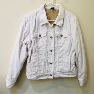 Cord/ Shearling Jean Jacket in White